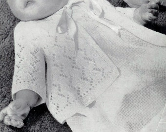 Baby Matinee Jackets 2 styles one in 3 ply and one in 2ply for  Sizes 17 - 19 ins - Greenock 671- pdf of Vintage Knitting Patterns