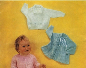 Baby Matinee Jackets instructions for 3 styles in 4 ply 3 ply  Sizes 19 - 20 ins - PDF of a Vintage Knitting Baby Pattern - Instant Download