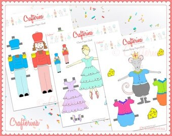Nutcracker Paper Doll Set with Printable Costumes - Clara - Mouse King - Educational Toy - Craft Activity - DIY - PDF Ballet