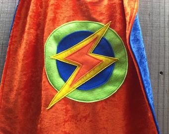 Super Hero Cape ORANGE and BLUE - Lightning Bolt - Birthday Cape - Super Hero Cape