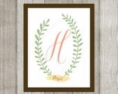Custom Personalized Digital Printable Family Baby Monogram Wall Art Decoration 11x14