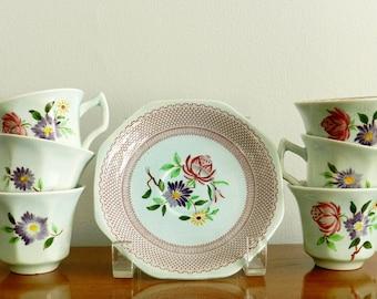 Set Staffordshire Ironstone Admas Imperial Ware China Tea Coffee Demitasse Cups Set of Six English Garden Cottage Chic Decor