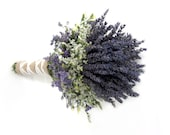 Organic Dried Lavender Wedding Bouquet - Gross Blue- Bridal bouquet - Bridesmaid Bouquet - burlap, navy  tulle Or Ivory Ribbon wrapped