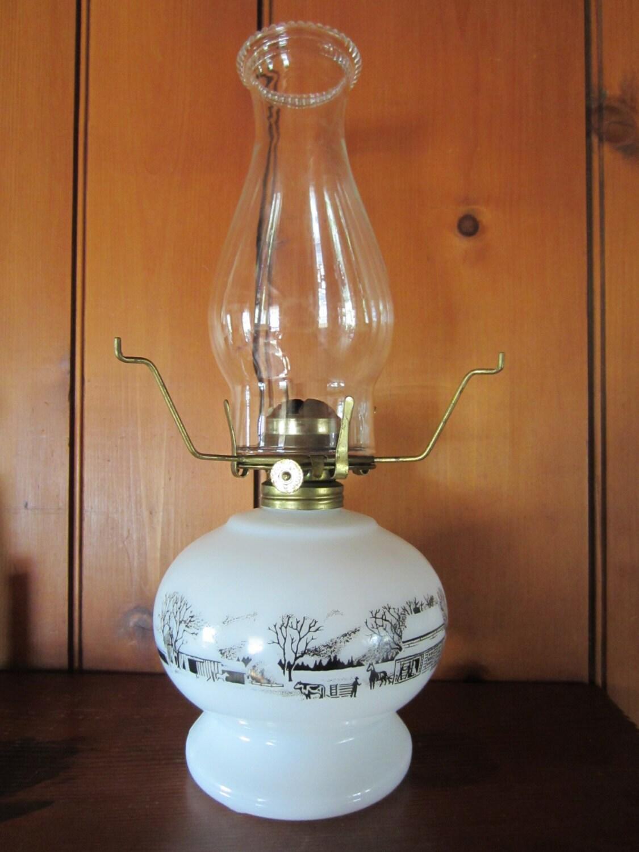 Vintage Currier Amp Ives Hobnail Milk Glass Kerosene Oil Lamp