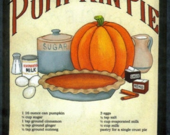 Retro Vintage Primitive Country KITCHEN  Sign PUMPKIN Pie Recipe Wall Decor