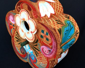 FLOWER PETAL BIRDHOUSE, A Rosemailing Inspired Fantasy Decorated Birdhouse With Hanging Hook & Suitable For Hanging Outdoors