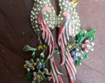 1950s Crystal & Enamel Jeweled Bird Brooch