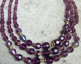 Elegant Amethyst Crystal Triple Strand Necklace c 1960