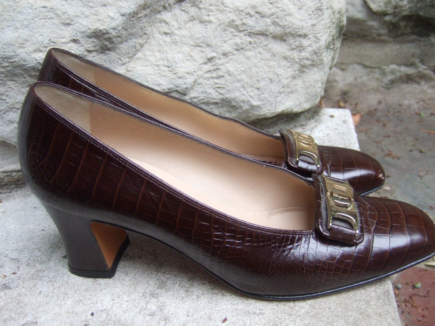 FERRAGAMO Italy Brown Embossed Leather by worldmarketproductio