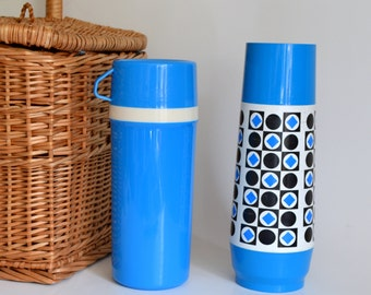 Vintage Thermos Set Blue. Perfect for display or to use!  Kitchen, Decoration, Home Decor, Camping, Travel, Display. Picnic, 1970s