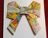 Handmade Origami Bow Greeting Card Upcycled Simpsons