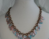 VIntage Copper and Lucite Demi Parure-  Necklace and Clip Earrings- Turquoise, White, and Copper Hearts and Leaves - 1960s