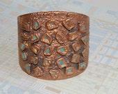 Vintage Copper Cuff Bracelet - Huge Bell Trading - Turquoise - Heavy, Unisex - 1970's