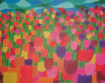 """Tulip Field fine art print 5"""" x 5"""""""