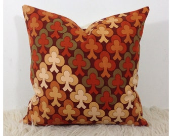 "Vintage 1970s Fabric Cushion Cover 16"" x 16"""