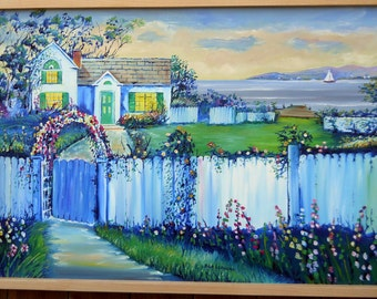 House of Dreams, Original Oil Painting, Blue House, Seaside Home, White Picket Fence, Dan Leasure