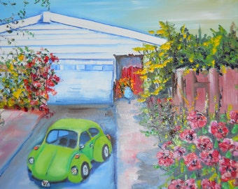 Volkswagon Painting, Kiwi VW Art, Auto Art, Dan Leasure Original Oil, 16 x 20, Home and Car