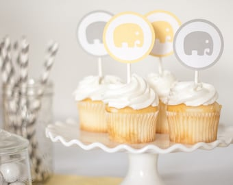 Elephant Cupcake Topper, Baby Shower, Yellow and Gray Baby Shower Decorations