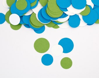 Party Decorations- Circle Confetti - Modern Birthday Decorations -Blue and Green Confetti