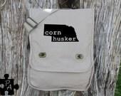 Nebraska CORNHUSKER Canvas Messenger Bag - Laptop Bag - iPad Bag - Diaper Bag - School Bag