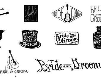 Wedding Logo Design - Reception Logo Design - Bride & Groom Logo Design - Freehand Logo Design Services - Customized