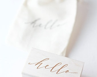 Hand-lettered hello hand stamp, modern calligraphy,