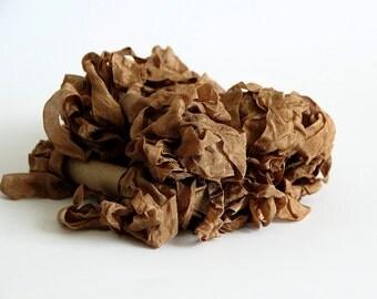5 m - 5.4 yards - BROWN Shabby Wrinkled Ribbon - Crinkled Seam Binding Ribbon