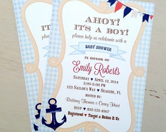 Nautical Baby Shower Invitation (10) Sailor Birthday-Nautical Birthday-Sailor Invitation-Anchor Invitation-Ahoy Invitation-It's A Boy