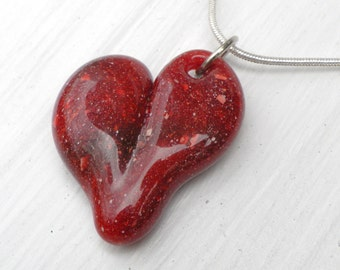 Blown Glass Heart Pendant, Lampwork Necklace, Hand Blown Boro SRA Stone Red