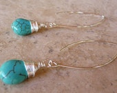Wire Wrapped Howlite Turquoise Bead Earrings