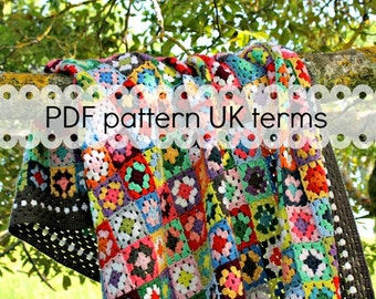 Crochet pattern - Gypsy granny square blanket - UK version