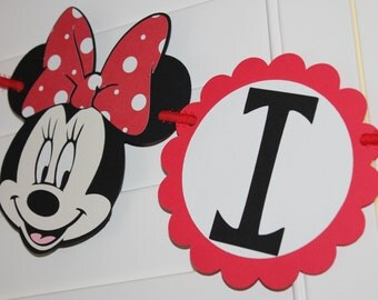 Minnie Mouse It's a Girl Red or Hot Pink Baby Shower Banner Garland Decoration