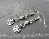 Rustic spiral amulet charm earrings with white glass pearl & silver beads. Fibonacci nickel-free Bohemian hippie pagan Pixie nature boho