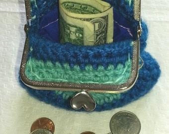 Teal tone coin clutch