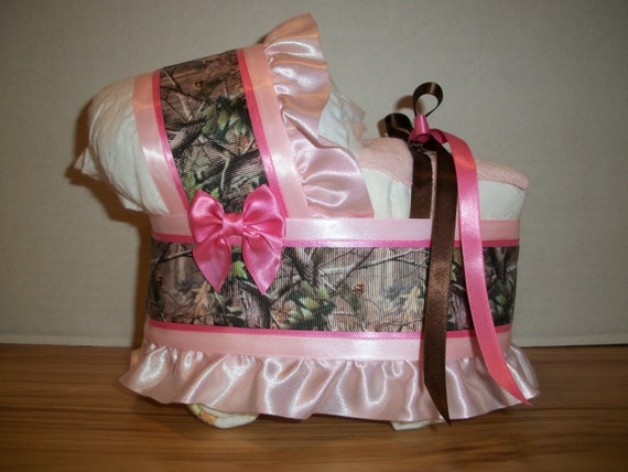 mixed pink camo camouflage girl diaper bassinet baby shower gift table