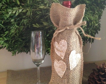 Burlap Wine Bag with lace heart