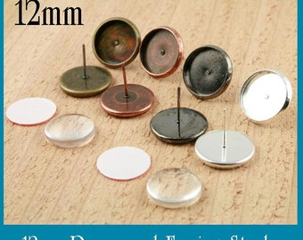 24 ct. 12mm Earring Stud Bezels. (12 pair total) - Blank Bezel - Ships from USA. Optional Glass (24)and Seals (24 or 48) offered.