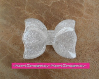 1 pc  GLITTER Resin Flatback Bow WHITE