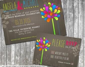 Rainbow Wedding Invitation, Modern Wedding Invite, Colorful Wedding Invitation and RSVP Suite, DIY Wedding Invitation Printable