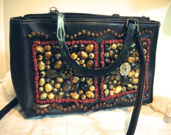 Retro Vintage Multicolor Brown Stone Beaded Hippie Pleather Purse/Handbag/Clutch