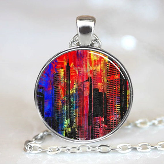 Psychedelic Cityscape  Pendant,  Photo Necklace, Silver Plated (PD0231)