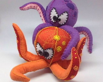 Felt Octopus decor, marine life softie, ocean felt animal, fiber art soft sculpture, posable octopus.