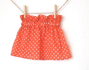 Girls Coral High Waisted Ruffle Skirt / Coral Polka Dot  / 6 months to 10 years / Made to Order