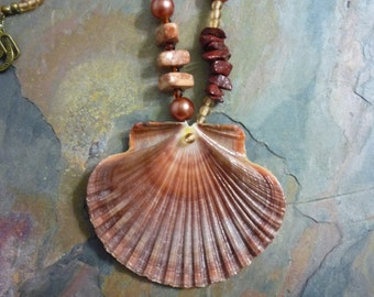 Necklace, Large, Scallop Shell, Pearls, Natural Stone, Glass Beads