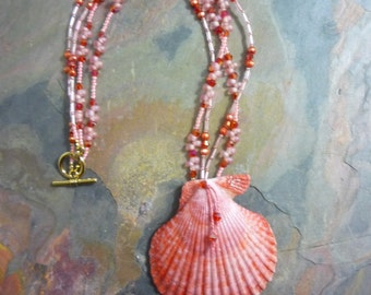 Big, Scallop Shell, Necklace with Pearls, Stone and Glass Beads