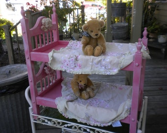 SUMMER SALE Little Girl's American Doll OOAK Bunk Bed, Pink and white Baby Doll Bed,, Cherub Headboard, Doll Furniture