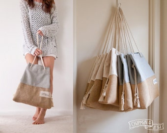 Natural Jute Burlap Beach Bag ALOHA Beach Tote by theAtlanticOcean