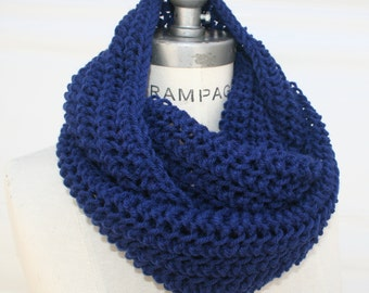 Handmade handmades Royal Blue Knit infinity Scarf scarves scarfs, mens gift mens, Hand Knit handknit  Scarf, Winter is coming scarf, PIYOYO