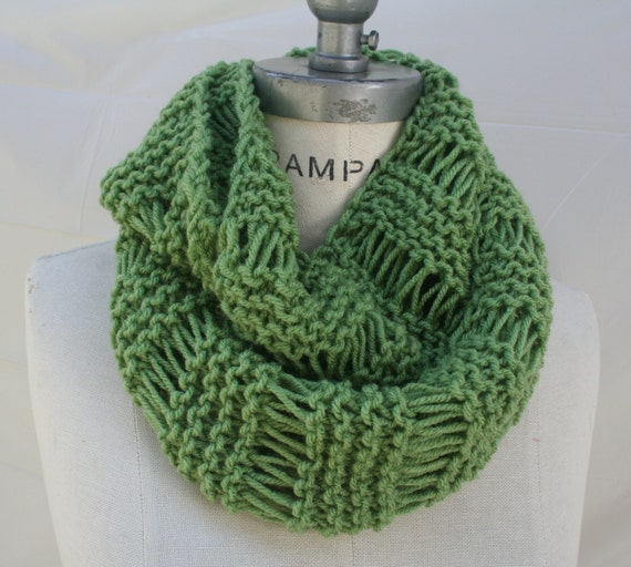 Knitting Items To Sell : Best selling items green handknit scarf knit infinity by