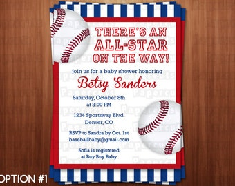 Baseball Theme Baby Shower Party Invitation | Blue & Red | Personalized | Printable DIY Digital File